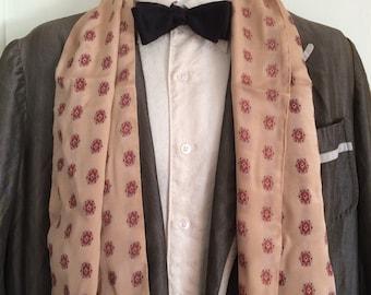 Vintage 1940's crepe Silk Beige Patterned Ascot Cravat Opera Scarf with fringe