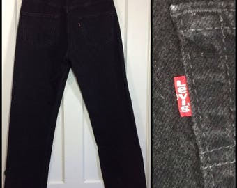 1990s Levi's 501 button fly jeans 34X30, measures 33x30 black straight leg denim boyfriend jeans made in USA #343