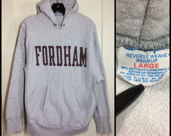 distressed Fordham University Bronx New York City NYC College School Champion Reverse Weave Hoody Sweatshirt size Large cloth tag tri-blend