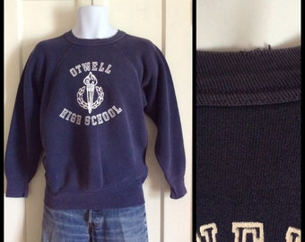 Vintage 1950s Otwell High School Logo Sweatshirt looks size Medium Navy Blue