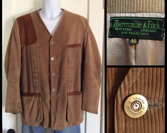 1950s Abercrombie and Fitch Corduroy Collarless Hunting Jacket Coat size 46 XL Black Label Remington Peters Bullet Buttons