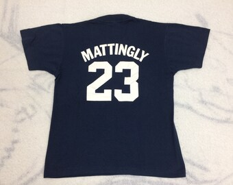 NY Yankees #23 Don Mattingly t-shirt size youth large 16x20 dark blue Screen Stars single stitch made in USA