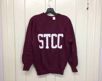 deadstock 1970s STCC college sweatshirt size medium burgundy white flocked fuzzy print Velva Sheen made in USA NOS