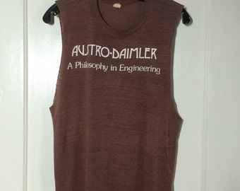 1970's 1980's Austro-Daimler Philosophy Engineering paper thin sleeveless Muscle T-shirt size Medium 18.5x25 brown A-D bike bicycle car club