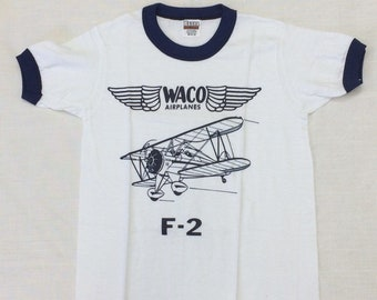 kids deadstock Waco F-2 vintage biplane airplane t-shirt girls boys youth size medium 14x20 pilot aircraft ringer tee Hanes made in USA NOS