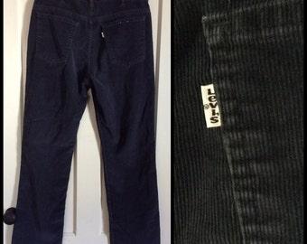 Vintage 519 Levis Corduroys 36x31 Dark Blue straight leg 36 inch waist Talon zipper #1549