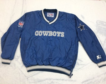 1990s Dallas Cowboys NFL Starter jacket pullover windbreaker size large embroidered patches sports team v-neck