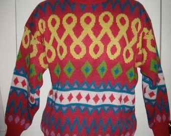 Vintage 1980's Fun Fresh Bright Pink Turquoise Abstract Navajo soft Sweater size Medium