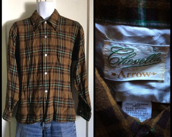 Vintage 1960's Chevella by Arrow Rayon Rockabilly Mens Shirt size Large Brown Plaid