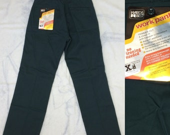 deadstock 1970s Montgomery Ward permanent press twill uniform work pants size small 29x29, measures 28x28 Talon zipper NOS dark green