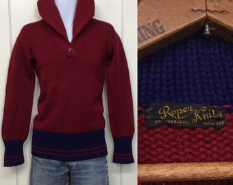 1920s 1930s Roper Knit thick high shawl collar burgundy blue striped pullover sweater looks size small low gauge long cuffs 2 tone