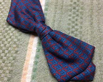 1950's Vintage Clip On Bowtie Blue with red squiggles pattern abstract flower design Ormond NYC