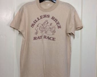 1970's Millers River Rat Race tan T-shirt size Medium 17x24 cartoon mouse canoe camping Massachusetts summer fun humor