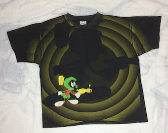 1992 Marvin the Martian all over print Looney Tunes Cartoon sci-fi character faded black cotton t-shirt size Large 21x26 Space Jam ray gun