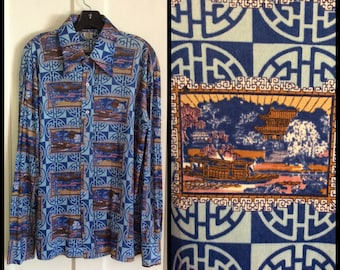 Vintage 1970's Disco Shirt Asian Scene Print Patterned size XL