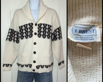 Vintage 1970's Navajo Cardigan sweater looks size Medium Cream Brown abstract patterned Striped shawl collar Brent Montgomery Ward