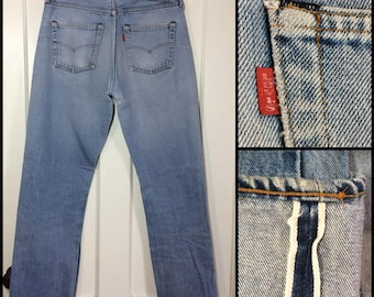 distressed faded Levi's 501 denim blue Jeans 32x34 measures 30x30 original hem redline selvedge black bar stitch button fly Boyfriend #295