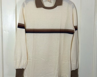 Deadstock 1970's Long Sleeve T-shirt Striped across chest and Sleeves knit cuffs size Large NOS Collar Polo shirt Cream Brown Rust Navy Blue