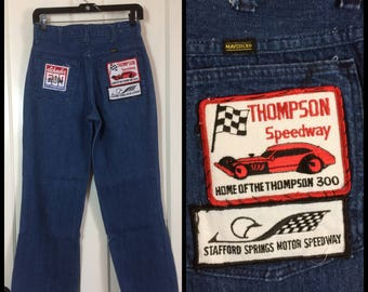 1970s Maverick patched Bellbottoms Denim Blue Flare Jeans 30X30, measures 28x28 with 4 Drag race car Motor Speedway patches boyfriend #280