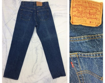 1980s Levi's 501 blue denim jeans 31X30, measures 28x29 straight leg button fly made in USA boyfriend jeans #370