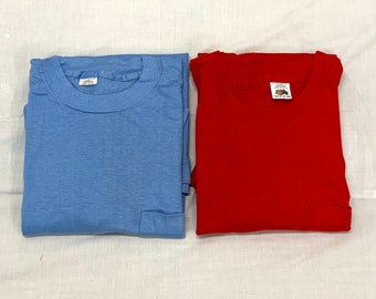 Pick One- deadstock 1960s Fruit of the Loom pocket tee plain blank t-shirt cotton single stitch made in USA square pocket red light blue NOS