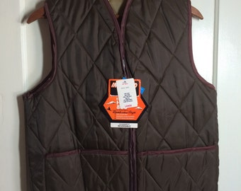 Deadstock Vintage 1970's reversible quilted work Vest size L NOS NWT brown tan metal zipper