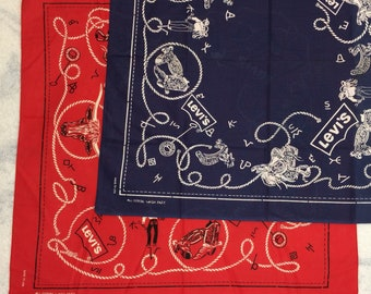 pick one deadstock 1960s Levis red or blue bandana 21.5x21 Wash Fast cattleman cowboy promo advertising hemmed cotton selvedge USA #156-157