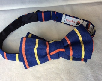 Vintage Rooster All Cotton Blue Striped Ivy League Self Tie Square End Bowtie adjustable Lord and Taylor