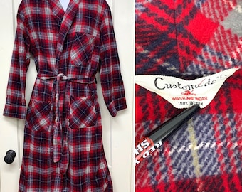 1950s cotton flannel plaid smoking jacket robe size large red gray black blue Customode