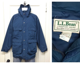 1980s LL Bean Baxter State Parka size medium blue made in USA