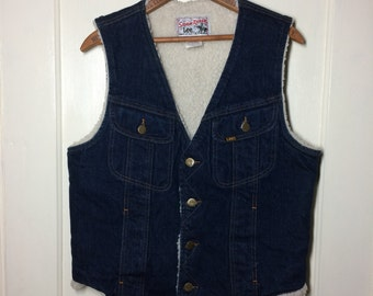 1980's Vintage Lee Storm Rider Fleece lined Blue Jean Denim winter Vest size 40R made in USA