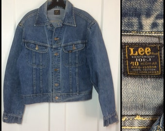 Distressed 1970s Lee 101-J Jacket size 40 patina Blue Jean 2 pocket Union Made in USA worn soft #1906