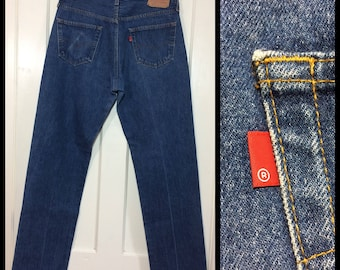 1980s Levis 501 denim blue jeans 36X36, measures 33x33 original hem straight leg button fly made in USA wallet fade  boyfriend #336
