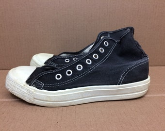 1970s 1980s faded black canvas hi-tops sneakers size 5.5 made in USA kicks shoes punk skate no brand chucks