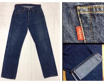 1970s Levi's 501 indigo blue dark wash denim jeans 34x36, measures 30.5x32 original hem, redline selvedge number 6 button boyfriend #338