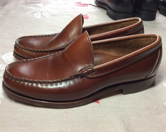Vintage Allen Edmonds Princeton brown leather Loafers Moccasins size 6 E leather soles made in USA