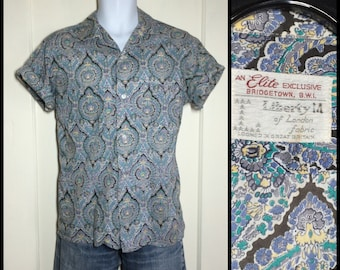1950s Paisley Patterned Print Loop collar Shirt Short Sleeve looks size Large Liberty of London Leisure blue lavender