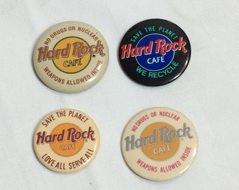 set of 4 Hard Rock Cafe pin pinback button badge 1.5 inch memorabilia collector
