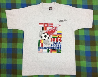 1990s 1994 USA Soccer Championships t-shirt size youth large 16x22 heather gray single stitch team sports made in USA