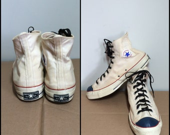 1960s Converse Chuck Taylor Made in USA white canvas Sneakers Kicks Shoes size 16 Blue Toe Black label