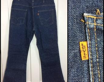 1970's Levi's 646 orange tab 35X28 dark 1 wash indigo blue denim, #4 button Talon zipper bellbottoms Bell Bottom Flare boyfriend Jeans #285
