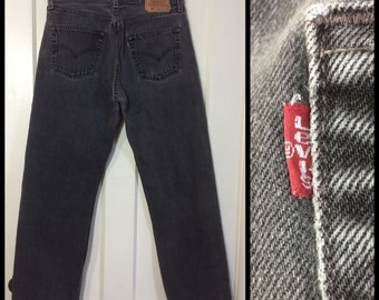 Levi's faded Black 501 34X30, measures 32x30 Button Fly Jeans 1990's made in USA Grunge all cotton denim Boyfriend #271