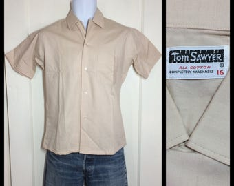1950's Deadstock plain tan beige short sleeve cotton loop Shirt youth size 16, boy's large, or XS NOS Tom Sawyer brand