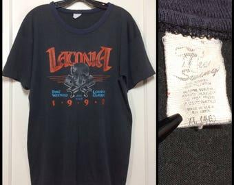 distressed 1990 Laconia Bike Weekend Loudon Classic Motorcycle Racing faded black cotton t-shirt size XL 21x27 worn thin skull biker