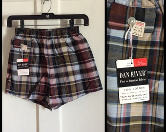 Deadstock Vintage 1950s Swimsuit Plaid Boxer Shorts NWT NOS 28 - 30 inch Waist Boys size Large all cotton #2