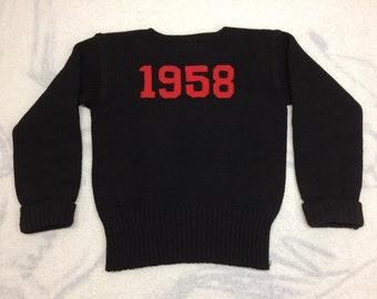 1950s dated 1958 pullover sweater looks size small black red by Highland Sportswear University College Varsity Ivy League school