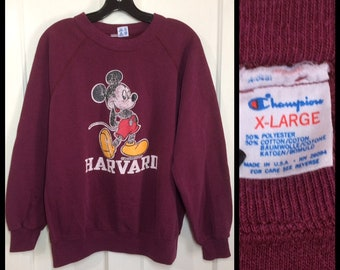 1980's Mickey Mouse Harvard Ivy League school Champion brand sweatshirt size XL 25x23 faded burgundy red Disney character made in USA