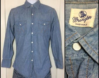 1950s Wrangler Blue Bell chambray snap western work Shirt looks size small