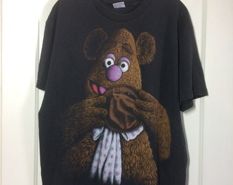 Vintage 1990's faded Fozzie bear large print black t-shirt size XL oversized all cotton the Muppets