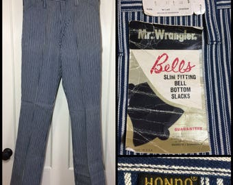 Deadstock 1960s Vintage Mr. Wrangler Hondo  31x32 Hickory Striped blue white Bell Bottom flare boyfriend Jeans NOS nwt #303